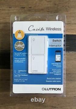 (10 PCS) Lutron Caseta Wireless In-Wall Light/Fan Switch PD-5ANS-WH-R White