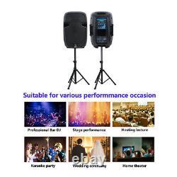 12 2000W Powered PA Active Speakers Pair 2-Way Karaoke Speaker Stands Wired Mic