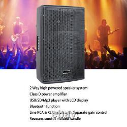 15 2-Way PA Powered Active Speaker System 4000W Audio Bluetooth USB KTV Speaker