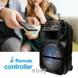 15 Bluetooth Portable FM Speaker Heavy Bass Tailgate Stereo PA System MIC AUX