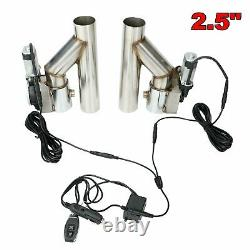 2.5 Dual Electric Exhaust Cutout Dump Bypass Valve Wireless Remote Control Kit