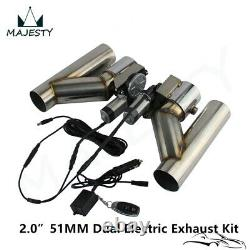 2 Dual Electric Exhaust Cutout Wireless Remote Control Dump Bypass Valve Kit