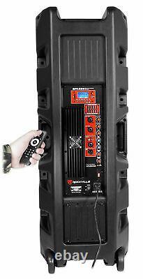 (2) Rockville BPA225 Dual 15 Powered 1500w Pro DJ PA Speakers w Bluetooth+TWS