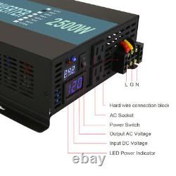 2500W Pure Sine Wave Inverter 12V 120V DC to AC Power Car Solar Remote Control