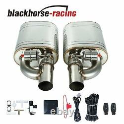 2Pcs 2.5Tips Single Exhaust Muffler Valve Cutout With Wireless Remote Controller