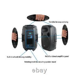 2X PA 2500W 15 Active Powered Speakers With Stage Steel Stands 4CH DJ Microphone