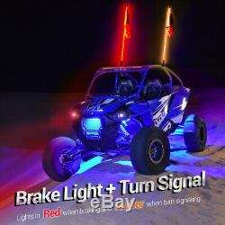 2x 4ft Spiral LED Lighted Whip Antenna Bluetooth Control for ATV 4WD Polaris Rzr