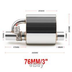 3 76mm Tip On Single Exhaust Muffler Valve Cutout+Wireless Remote Controller