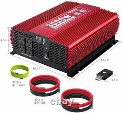 3000W Power Inverter 12V DC to 110V AC Car Converter Wireless APP Remote Control