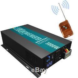 3000W Pure Sine Wave Inverter 12V 120V Car Power Home Solar Remote Control Camp