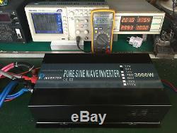 3000W Pure Sine Wave Inverter 24V 120V Car Power Home Solar Remote Control Camp