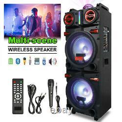 4,500W Bluetooth Speaker Rechargable Dual 10 Woofer Party FM Karaok DJ LED AUX