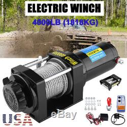 4000lbs 12V Electric Recovery Winch Truck SUV Wireless Remote Control
