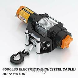 4500lb 12V Electric Steel Cable Winch Kits with Wireless Remote Control IP67