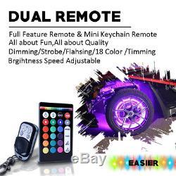 4x 17 Wheel Ring Rim Light RGB All-Color LED Wheel Well Light Kit for Car Truck