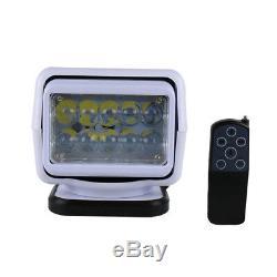 50W CREE LED Remote Control Searchlight Wireless Spotlight 9-32V Boat Truck ATVs
