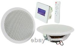 Bluetooth In-Ceiling Speaker Kit In Wall Amplifier USB FM for Home Kitchen Room