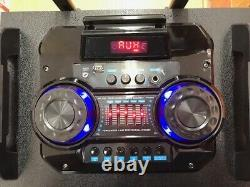 Bluetooth Rechargeable Party DJ Speaker Dual 12 inch with Lights + Wireless Mic