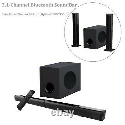 Bluetooth Wireless Sound Bar with Subwoofer Detachable Soundbar Home Audio Theater