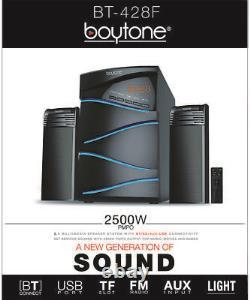 Boytone 2.1 CHANNEL BLUETOOTH SPEAKER SHELF STEREO SYSTEM, LIGHTS, USB, SD 50 W