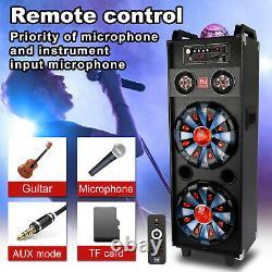 Dual 10 Bluetooth Speaker BT Subwoofer Tweeter LED Disco Light USB AUX Mic FM