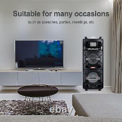 Dual 10 Portable Bluetooth Speaker Rechargeable System DJ Karaoke LED Hi-Fi AUX