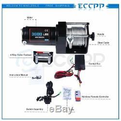 ECCPP 3000LBS 12V Electric Winch Steel Cable ATV UTV Wireless Remote Control
