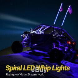 MICTUNING 2x 4ft Lighted Spiral LED Whip Antenna Flag Remote for ATV RZR Polaris