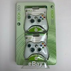 NEW Xbox 360 Controller 2 Pack Wireless White OEM Microsoft Remote Gamepad Rare