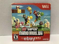 Nintendo Wii Black Console RVL-001 Super Mario Bros Bundle Tested Working