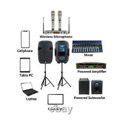 Pair 12 2-Way PA Active Speakers 2000W Powered Speaker Stands, Wired Microphone