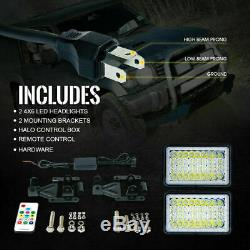 Pair of 4x6inch LED Headlight High Low Beam Sealed Replacement Lamp RGB Halo