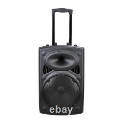 Portable Active Bluetooth Wireless Pa Speaker Mic AMP USB SD LCD FM 12 Woofer