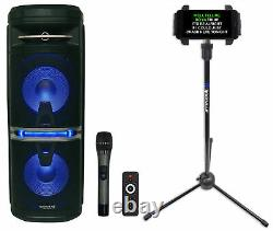 Rockville Go Party X10 Dual 10 Karaoke Machine System+Wireless Mic+Tablet Stand