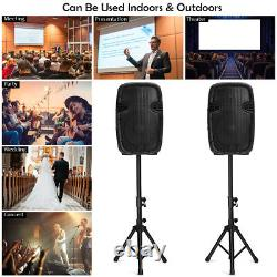 Suono Dual 12 2-way 1600W Powered Speakers with Bluetooth Mic Speaker Stands