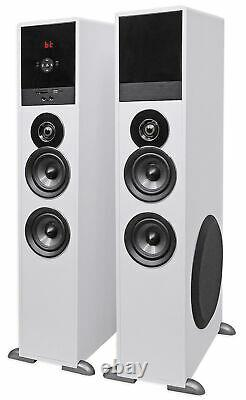 Tower Speaker Home Theater System+8 Sub For Samsung NU6900 Television TV-White
