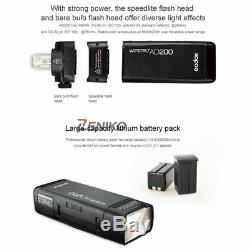 US Godox 2.4 TTL HSS Two Heads AD200 Flash +Xpro-N Trigger for Nikon+Softbox Kit
