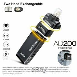 US Godox AD200 Poacket Flash Speedlite 2.4 TTL 1/8000s Double Head +reflector