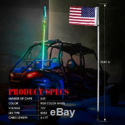 Xprite 6ft Wireless Remote Control Dancing RGB LED Whip Lights for ATV UTV Buggy