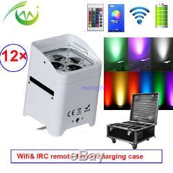 12 × Rgbwa + Uv 6in1 DMX Batterie Télécommande 4x18w Conduit Par Les Dj Uplights Sans Fil