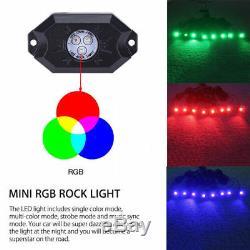 12x Pod Rgb Led Lumière Étanche Rock À Distance Sans Fil Hors Route Sous Une Lampe Roue