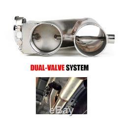 2 × 2,5 63mm D'échappement De Commande Cut Out Double Valve Électrique Y Tuyau À Distance Sans Fil