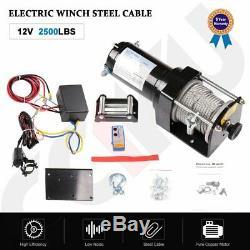 2500lb Électrique 12v Récupération Treuil Camion Suv Câble D'acier Télécommande Sans Fil