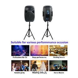 2x Pa 2500w 15 Haut-parleurs Activés Avec Supports En Acier De Scène 4ch Dj Microphone