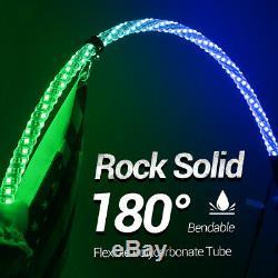 2x Spiral Led Allumée Antenne Fouet Contrôle Bluetooth Pour Atv 4wd Polaris Rzr