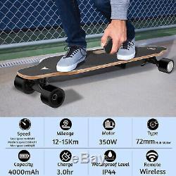 35 Planche À Roulettes Électrique Plus Récent 350w Longboard Télécommande Sans Fil Maple Plate-forme