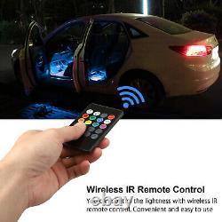 4pcs 72 Led Voiture Intérieur Atmosphère Néon Lights Strip Wireless Ir Remote Control
