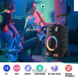 500w Bluetooth Karaoke Machine Pa Speaker System 2 Sans Fil MIC Télécommande