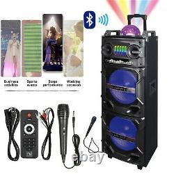 Double 10 Haut-parleur Bluetooth Portable Système Rechargeable Dj Karaoke Led Hi-fi Aux