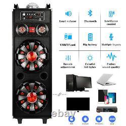 Double 10 Subwoofer Portable Bluetooth Party Speaker Dj Pa Karaoke Led System MIC